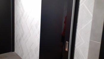 Модель двери 6Е чёрный матовый стекло чёрный лак - обычные и система купе